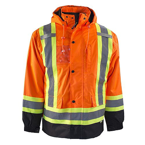 HI-VIS 7-IN-1 Lined Safety Jacket w/Rflt Band (Orange) SZ 2XL