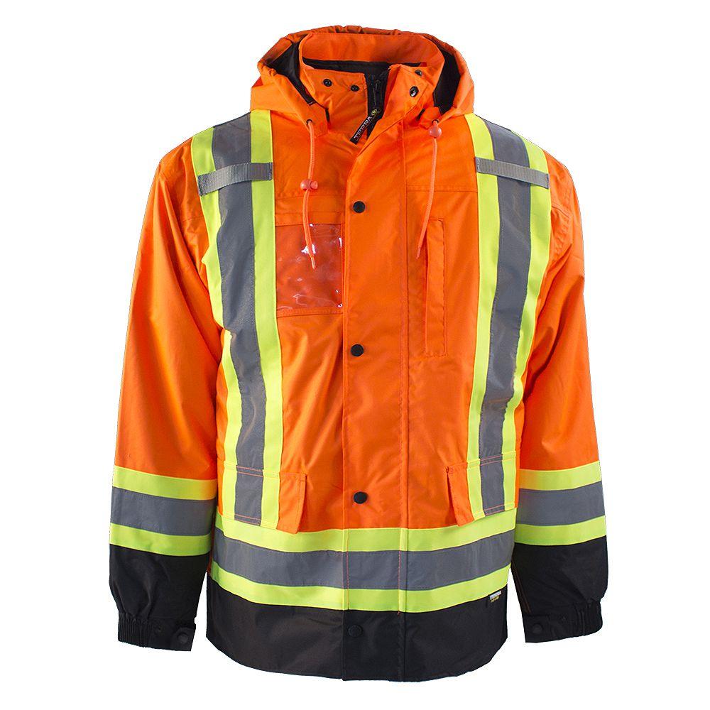Terra HI-VIS 7-IN-1 Lined Safety Jacket w/Rflt Band (Orange) SZ M