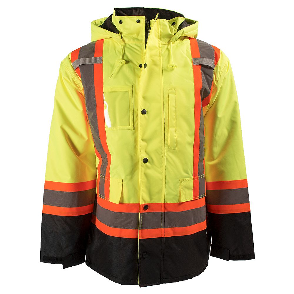 Terra HI-VIS 7-in-1 Lined Safety Jacket with Rflt Band (Yellow) SZ L