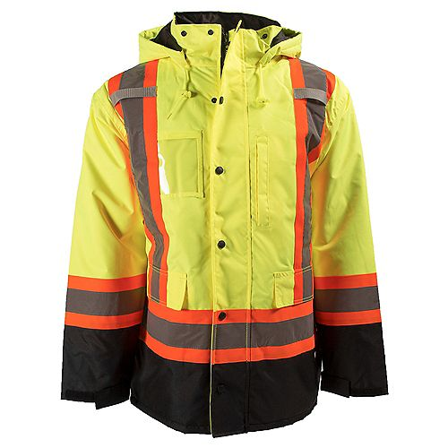 HI-VIS 7-in-1 Lined Safety Jacket with Rflt Band (Yellow) SZ M