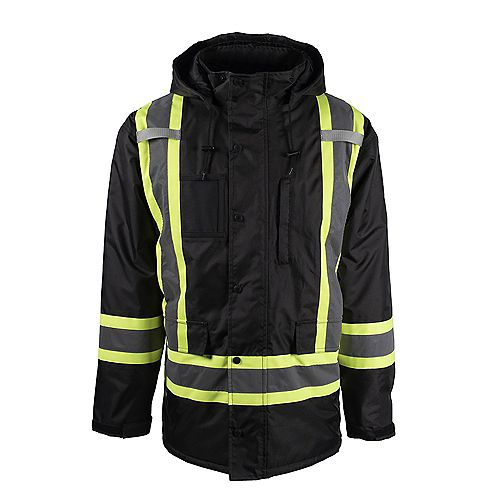 Hi-VIS Lined Safety Parka with Rflt Band (Blk) SZ L