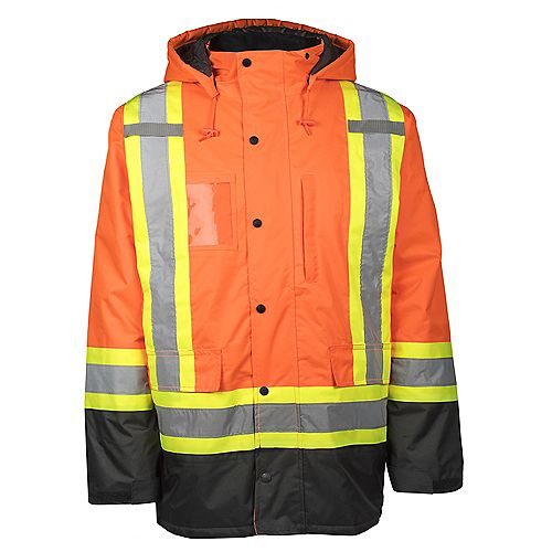 Parka Haute Visibilité Doublé et Bande Réflec (Orange) XL