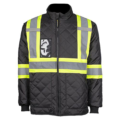 Terra Hi-Vis Quilted Freezer Jacket with Rflt Band (Blk) SZ 2XL