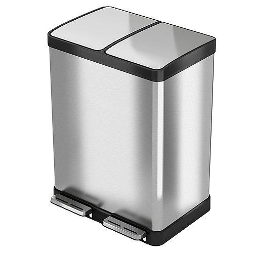 Poubelle de recyclage Premium halo de 60L, en acier inoxydable et avec une pédale
