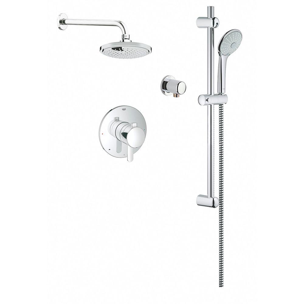 GROHE Kit de douche standard avec vidange à droite, blanc, de 59-1/2 po x 32-1/4 po x 86 po