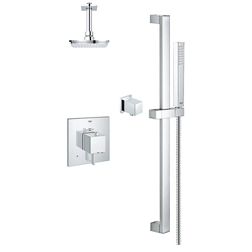 Modern Square Thermostatic Dual Function Shower Kit in StarLight Chrome