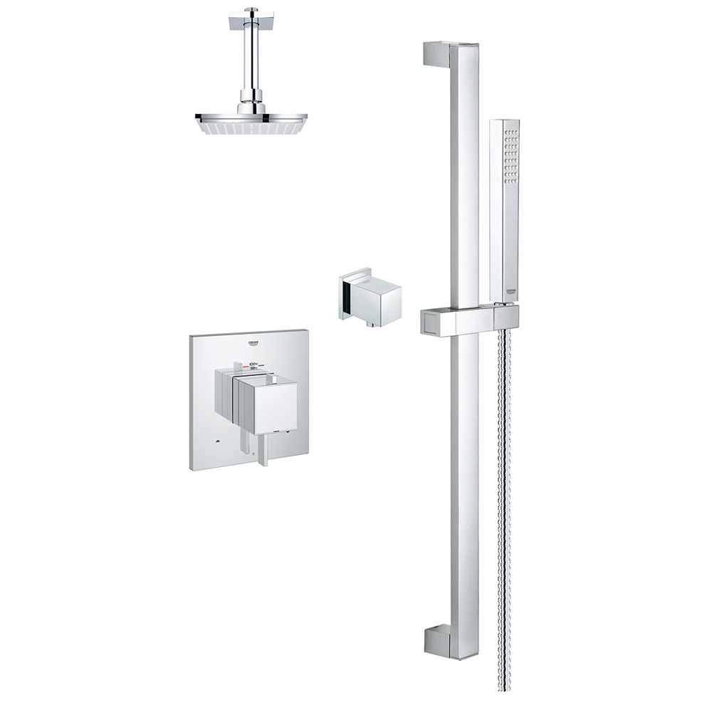 GROHE Kit de douche thermostatique moderne rectangulaire à double fonction en chrome StarLight