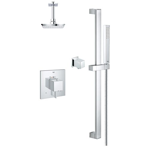 Modern Rectangle Square Thermostatic Dual Function Shower Kit in StarLight Chrome