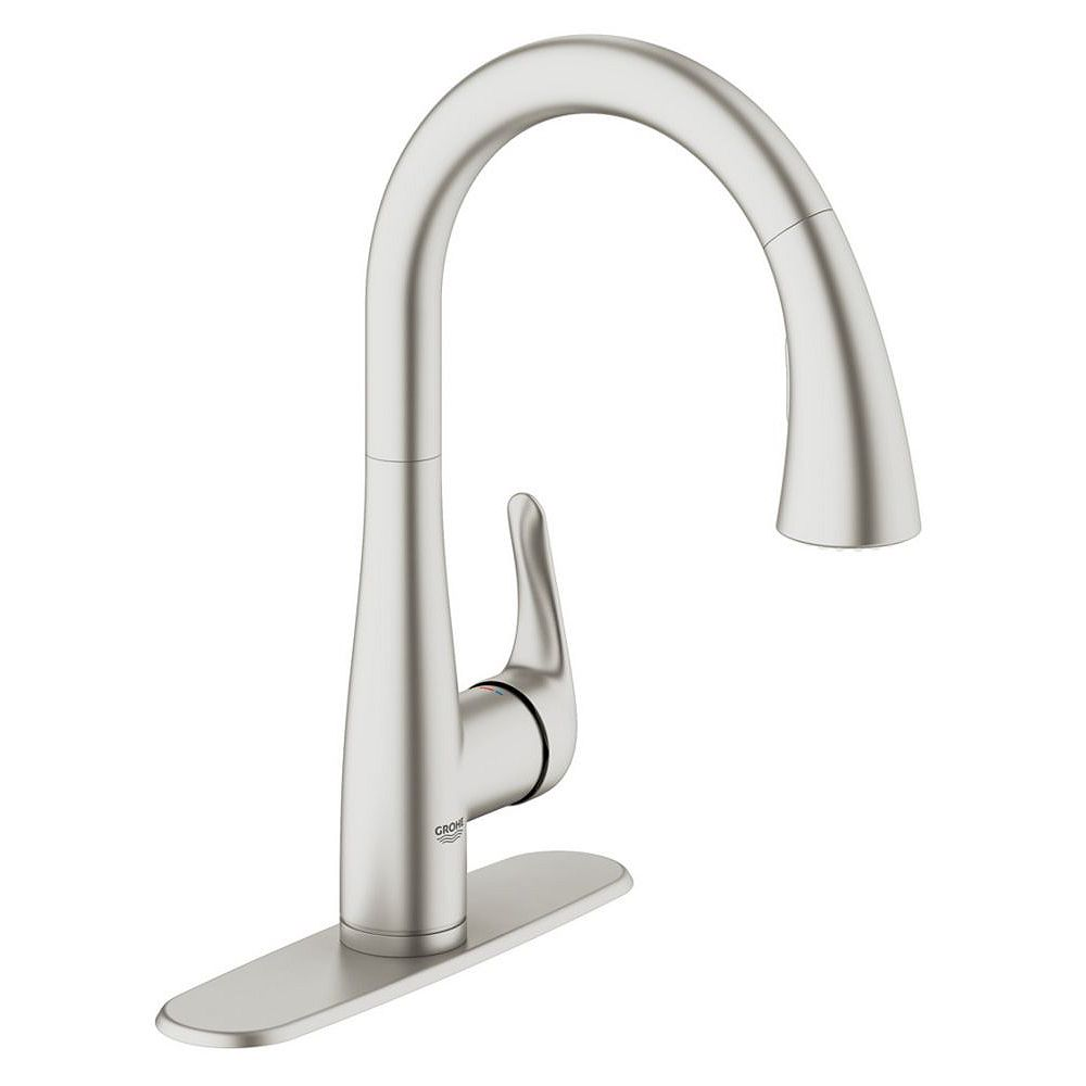 Grohe Elberon Dual Spray Pull Down Kitchen Faucet In Supersteel Infinity Finish The Home Depot Canada