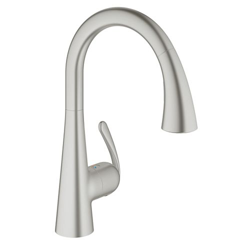 Ladylux³ Cafe Single-Handle Pull-Down Sprayer Kitchen Faucet with Dual Spray in Brushed Nickel