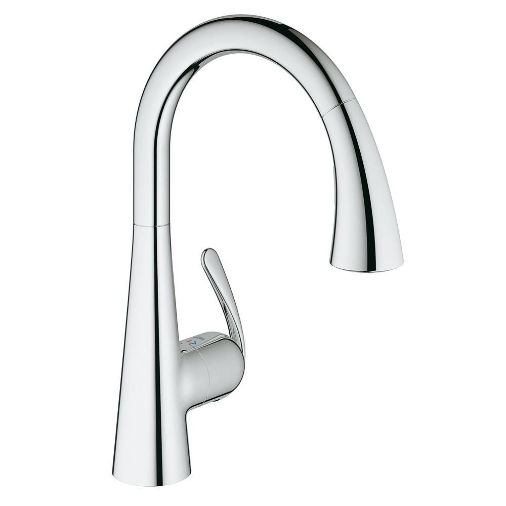 GROHE Ladylux³ Cafe Single-Handle Pull-Down Sprayer Kitchen Faucet with Dual Spray in StarLight Chrome