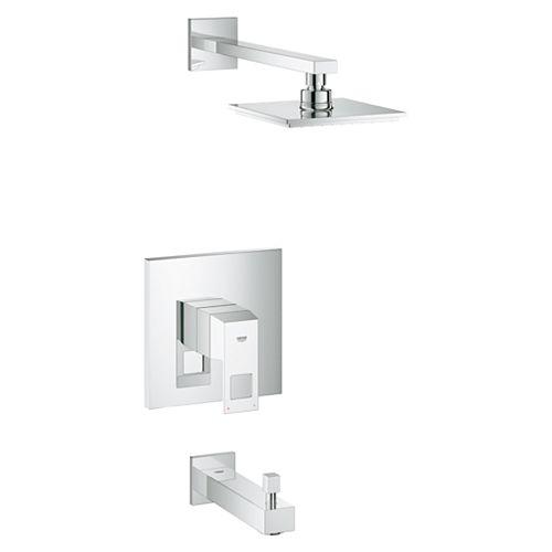 Combinaison baignoire/douche Eurocube carrée à poignée unique en chrome StarLight
