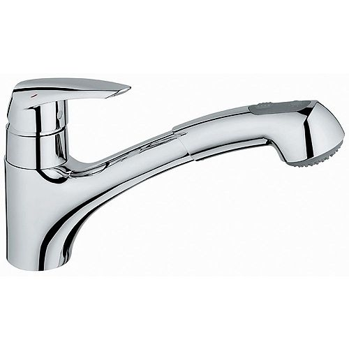 Eurodisc Single-Handle Pull-Out Sprayer Kitchen Faucet in StarLight Chrome