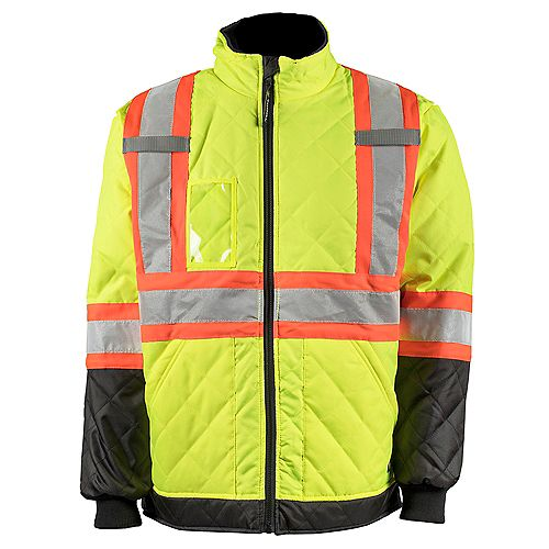 Hi-Vis Quilted Freezer Jacket with Rflt Band (Yellow) SZ XL