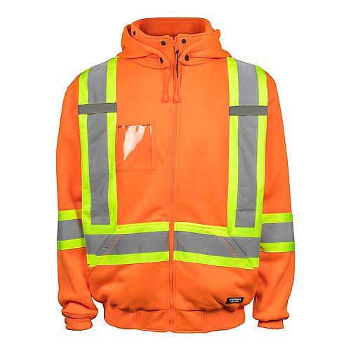 Veste Polaire Haute Visibilité avec Capuchon Amovible et Bande Réflec (Orange) L