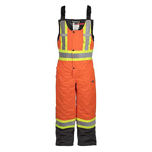 Hi-Vis Lined Safety Overall Bib with Rflt Band (Orange) SZ S