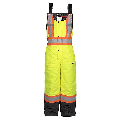 Hi-Vis Lined Safety Overall Bib with Rflt Band (Yellow) SZ 2XL