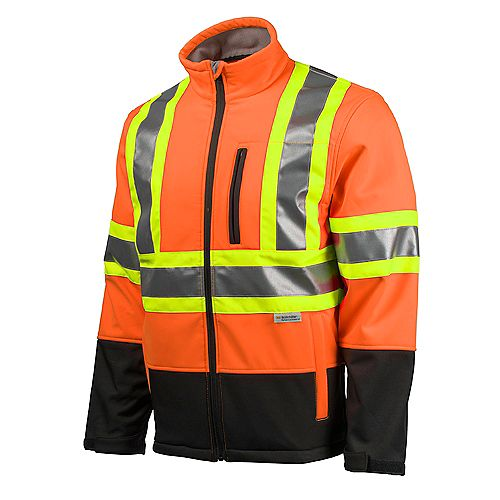 Hi-Vis Softshell Jacket with YKK Zipper (Orange) SZ 3XL