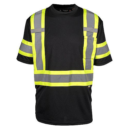 Hi-Vis Short Sleeve T-Shirt with Rflt Band (Black) SZ L