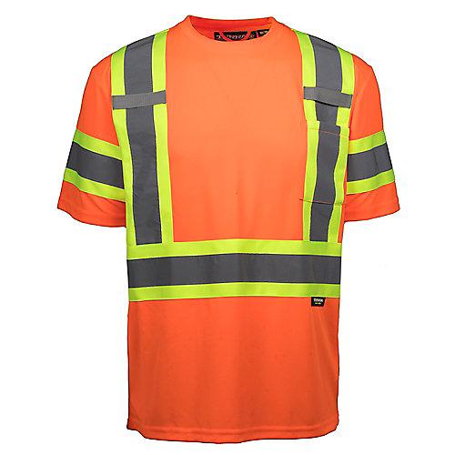 Hi-Vis Short Sleeve T-Shirt with Rflt Band (Orange) SZ XL