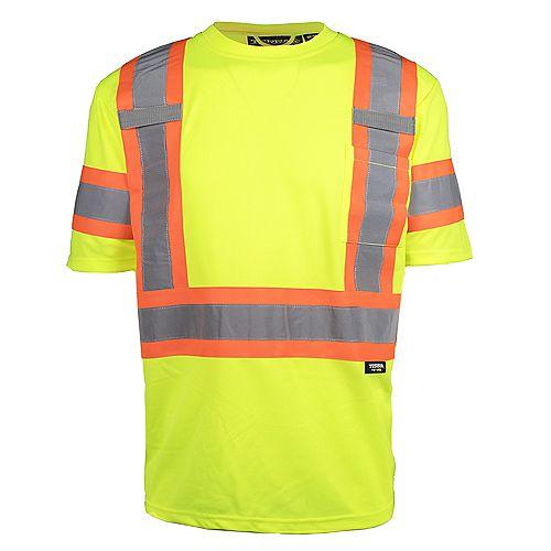 Hi-Vis Short Sleeve T-Shirt with Rflt Band (Yellow) SZ M