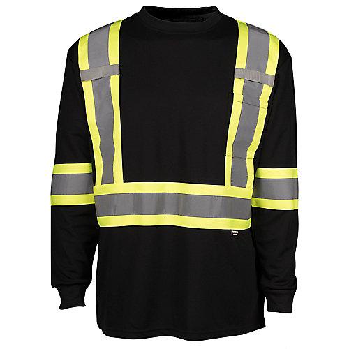 Hi-Vis Long Sleeve T-Shirt with Rflt Band (Black) SZ XL