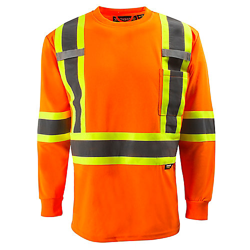 Hi-Vis Long Sleeve T-Shirt with Rflt Band (Orange) SZ XL