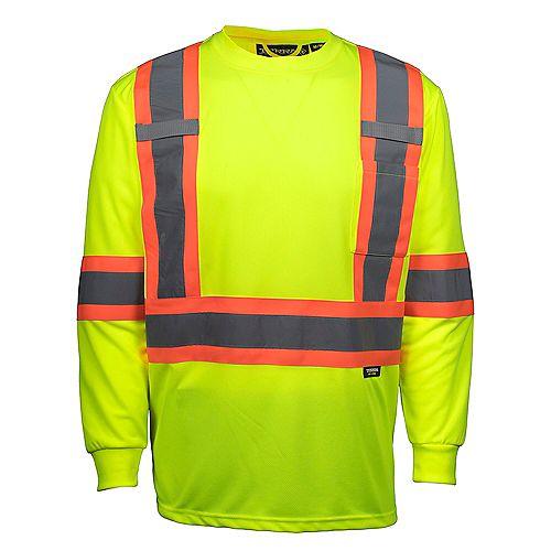 Hi-Vis Long Sleeve T-Shirt with Rflt Band (Yellow) SZ M