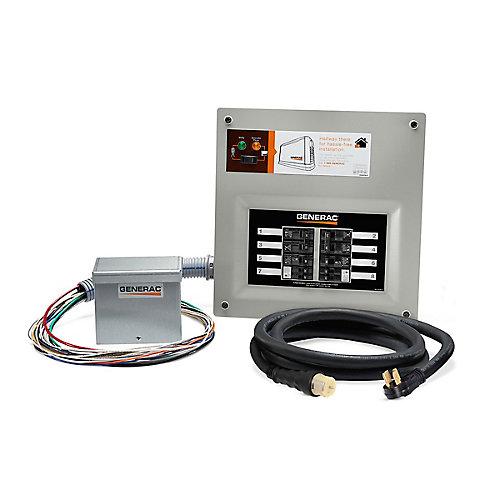 50 Amp Indoor Transfer Switch Kit for 10-16 circuits, alum PIB + conduit, 30 Amp plug