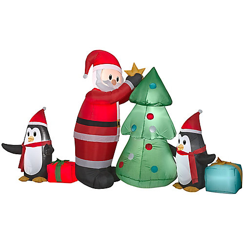Medium Airblown Santa with Penguins Collection Scene