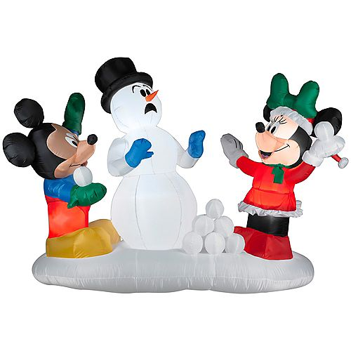 Large LED-Lit Airblown Mickey Snowball Fight Scene