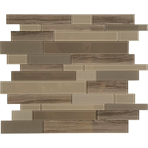 Glass by ASP Brown glass marble mosaic 10.8 X 11.6 Single Sheet Peel and Stick