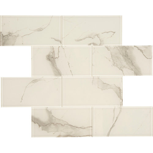 Glass White marble single sheet 11.8 X 11.8 Peel and Stick