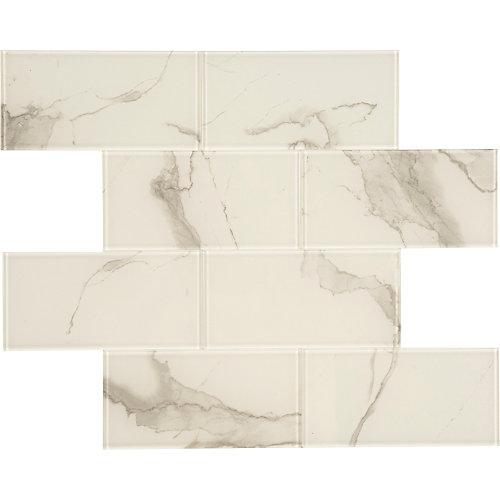 Marble blanc en verre  11.8 X 11.8  Peel and Stick