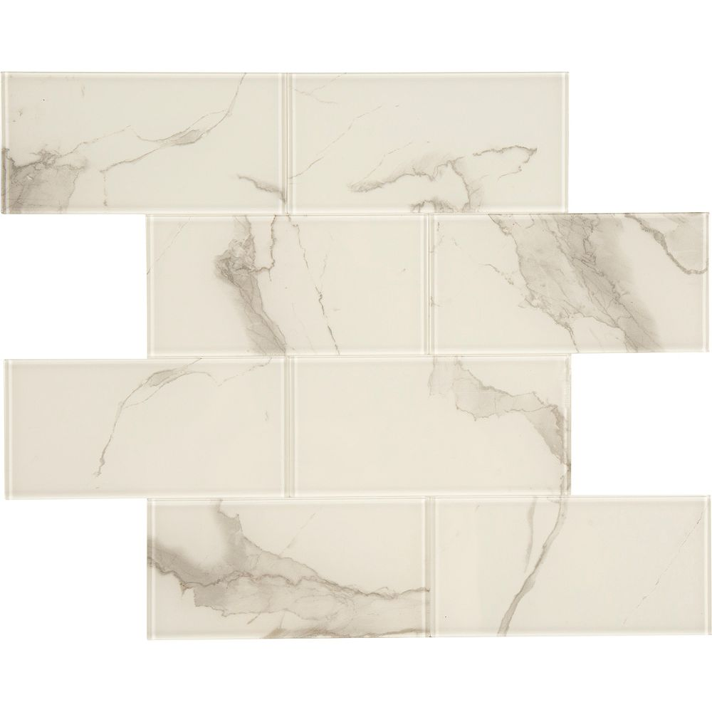 Glass by ASP Marble blanc en verre  11.8 X 11.8  Peel and Stick