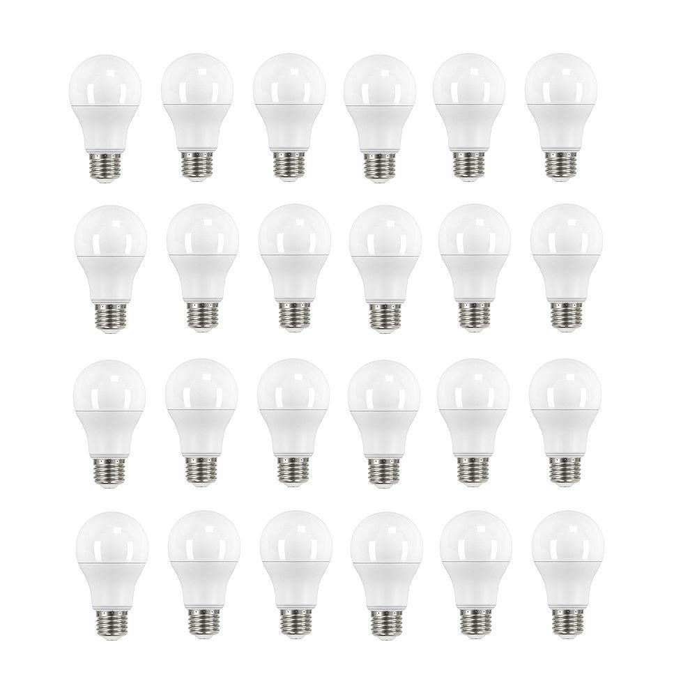 Ecosmart Ampoule DEL A19, équivalence de 60 W, 3 000 K, blanc brillant, ens. de 24