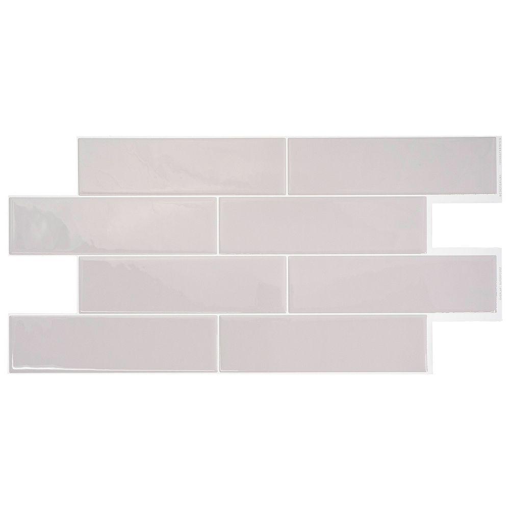 Smart Tiles Tuiles décoratives Peel and Stick pour murs, 2,56 po x 10,88 po, Oslo, gris, ensemble de 2