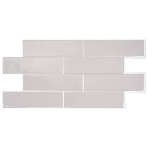 Oslo Grey 22.56-inch W x 10.88-inch H Grey Peel and Stick Decorative Wall Tile ( 2-Pack)