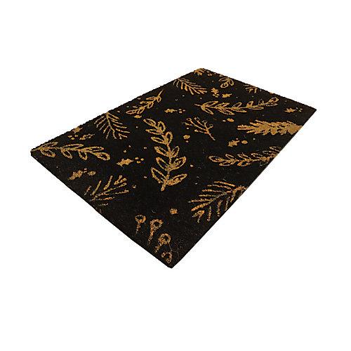 Paillasson en fibre de coco, 18 po x 30 po, feuille dorée