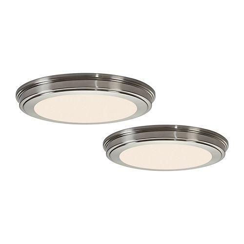13-inch 180W Equivalent Brushed Nickel Integrated LED Flushmount Light (2-Pack)