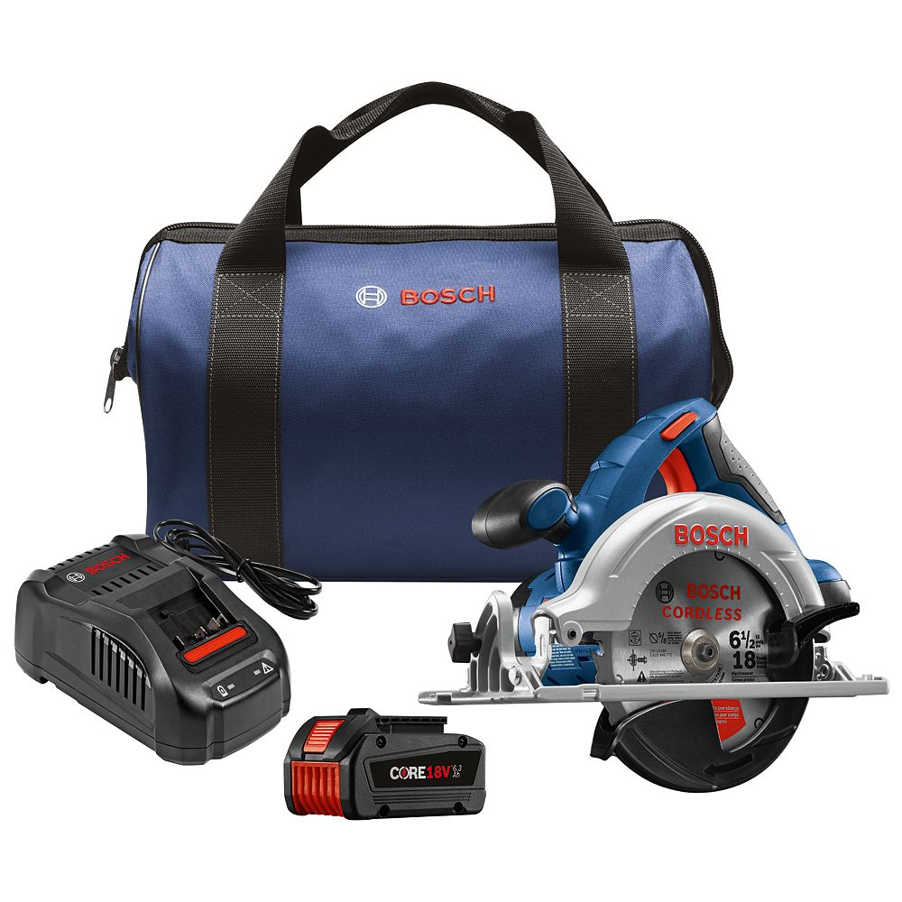 Bosch 18V Cordless 6.5-inch Circular Saw Kit with CORE18V 6.3Ah Li-Ion Battery