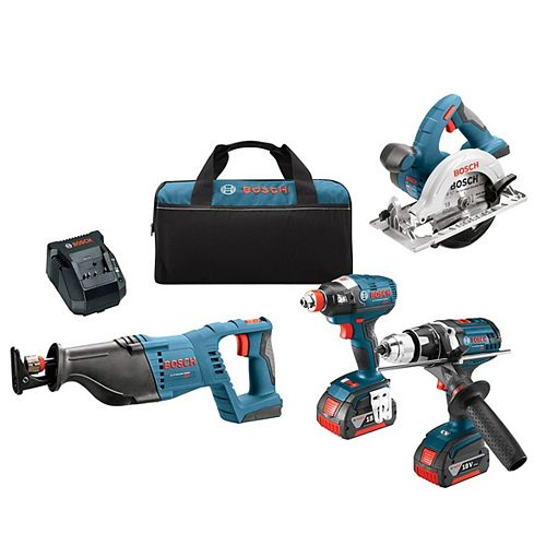 18V 4-Tool Combo Kit with EC Brushless Impact Driver, Drill/Driver, Reciprocating Saw & Circular Saw