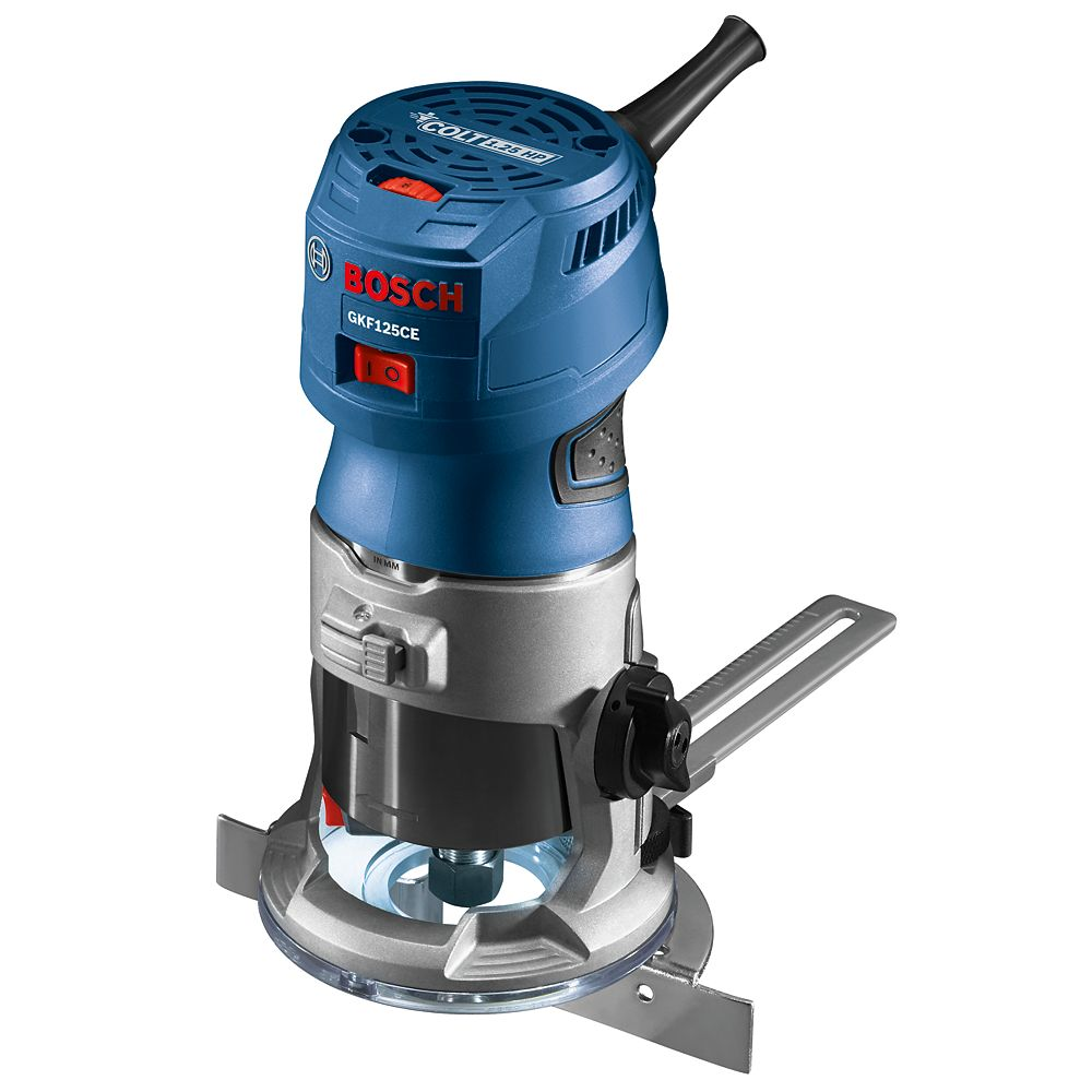 Bosch 120V 1.25 HP Corded Fixed Based Palm Router Kit with Variable Speed and Adjustment System
