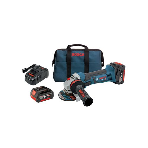 18-Volt 4-1/2 inch Angle Grinder with (2) FatPack Batteries (4.0Ah) and Lock-On Side Switch