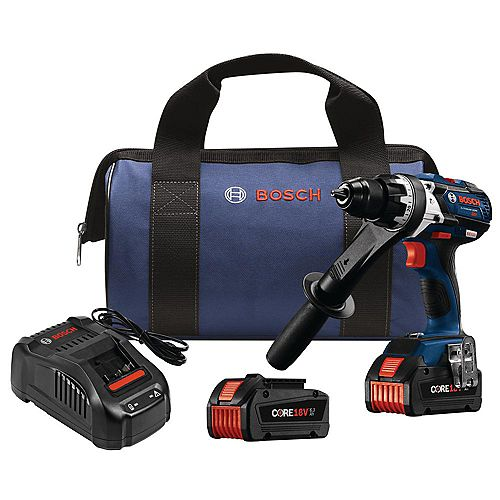 Bosch 18V EC Brushless Brute Tough 1/2 inch Hammer Drill/Driver Kit with (2) CORE18V Batteries