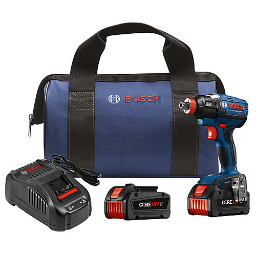 18-Volt EC Brushless 1/4 inch and 1/2 inch Socket-Ready Impact Driver Kit with (2) CORE18V Batteries