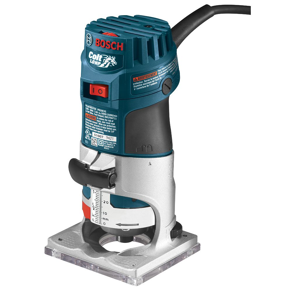 Bosch 120V 1.0 HP Brushed Corded Colt Electronic Palm Router with Variable Speed