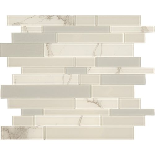 Glass by ASP White and Grey Glass marble mosaic 10.8 X 11.6 Peel and Stick