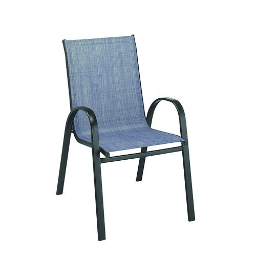 Mix & Match Sling Patio Dining Stack Chair in Denim