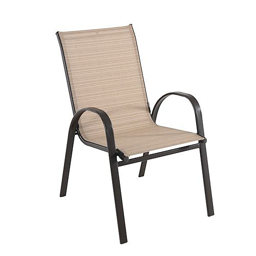 Mix & Match Sling Stacking Patio Dining Chair in Café
